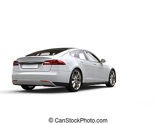 Cool white modern electric sports car - tail view