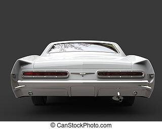 Cool white restored vintage car - back view