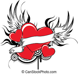cool winged hearts - winged heart with design elements in...