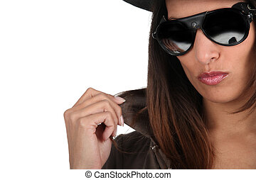 Cool woman in shades