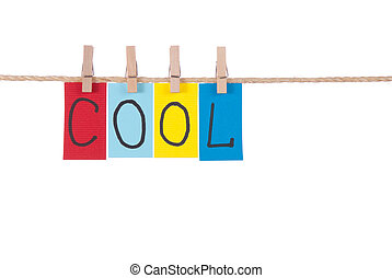 Cool, Wooden peg and colorful words series on rope
