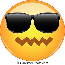 Cool yet confused emoji. Yellow face emoticon with pwnd face...