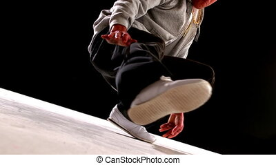 Cool young break dancer dancing