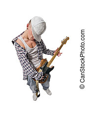 Cool young guitarist on white background