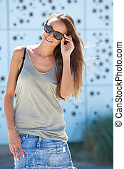 Cool young woman smiling