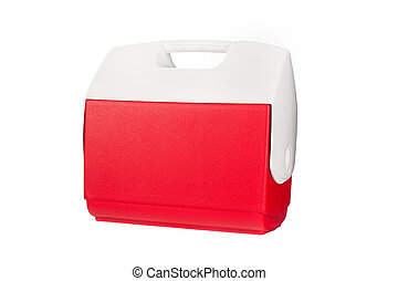 Cooler - A red ice chest cooler isolated on a white ...