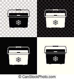 Cooler bag icon isolated on black, white and transparent background. Portable freezer bag. Handheld refrigerator. Vector Illustration