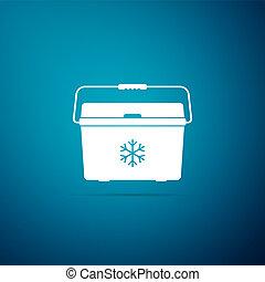Cooler bag icon isolated on blue background. Portable freezer bag. Handheld refrigerator. Flat design. Vector Illustration