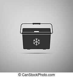 Cooler bag icon isolated on grey background. Portable freezer bag. Handheld refrigerator. Flat design. Vector Illustration