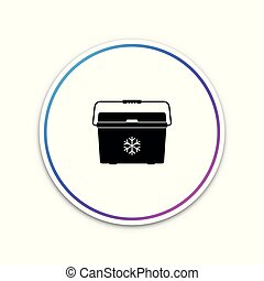 Cooler bag icon isolated on white background. Portable freezer bag. Handheld refrigerator. Circle white button. Vector Illustration