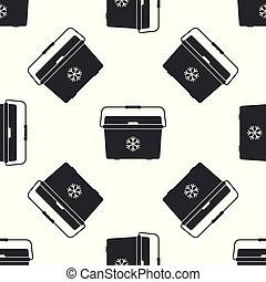 Cooler bag isolated icon seamless pattern on white background. Portable freezer bag. Handheld refrigerator. Flat design. Vector Illustration