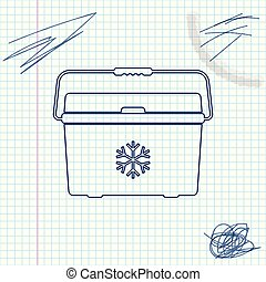Cooler bag line sketch icon isolated on white background. Portable freezer bag. Handheld refrigerator. Vector Illustration