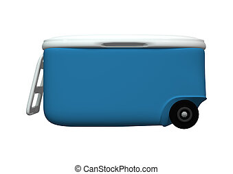 Cooler on White - 3D digital render of a blue cooler...