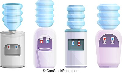 Cooler water icons set, cartoon style