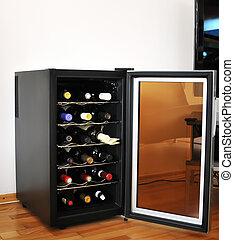 Cooler - Wine cellar with wine botltes