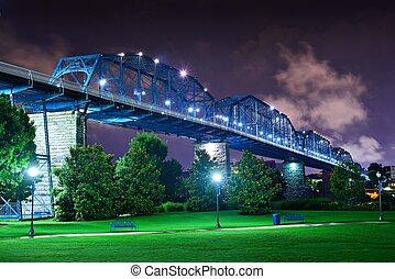 Coolidge Park in Chattanooga - Walnut Street Bridge over...