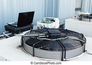 Cooling industrial air conditioning units closeup