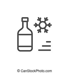 Cooling line outline icon and fridge concept