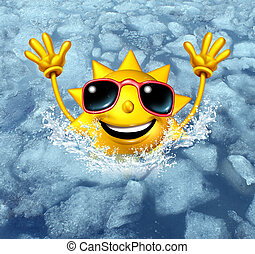 Cooling Off Fun - Coooling off fun and cool down concept as...