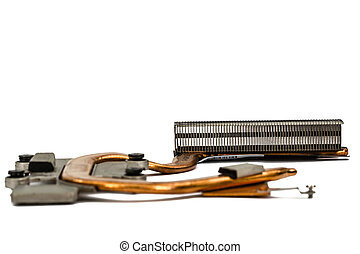 Cooling system of computer processor, isolated on white background