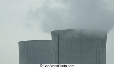 Cooling Tower Closeup on Cloudy Day Pan - Close up slow pan...
