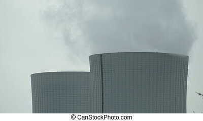 Cooling Tower Closeup on Cloudy Day Timelapse - Close up...