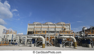 Cooling tower in industrial factory