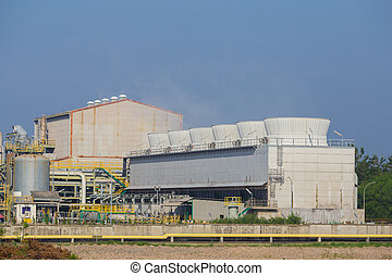 cooling tower of chemical industry plant, Thailand - cooling...