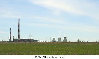 cooling-tower on blue sky