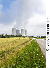 Cooling towers at nuclear power plant in Dukovany, Czech republic