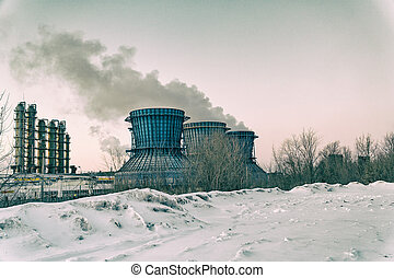 Cooling towers of a petrochemical plant