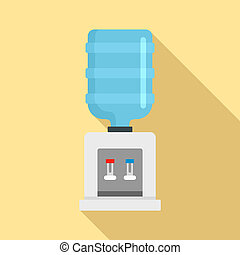 Cooling water office icon, flat style
