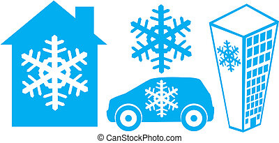 Coolness - Vector signs of cooling house, car, office