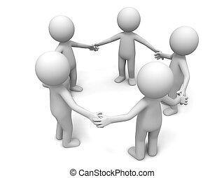 coopération, équipe, associé