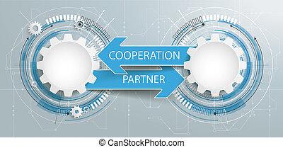 coopération, 2, engrenages, circuit, associé, futuriste, planche