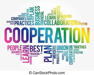 coopération, nuage, collage, mot