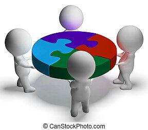 coopération, union, puzzle, résolu, caractères, spectacles, 3d
