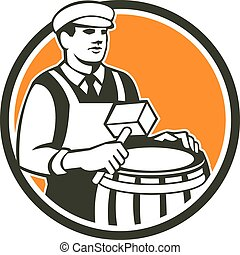 Illustration of a cooper barrel maker making a drum holding a mallet viewed from front set inside circle done in retro style.