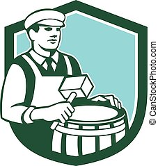 Illustration of a cooper barrel maker making a drum holding a mallet viewed from front set inside shield done in retro style.