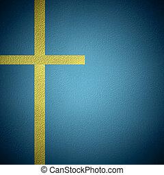 Cooper metal crucifix background