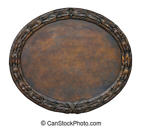 Cooper Plate - Brass brown ornate plate framed background...