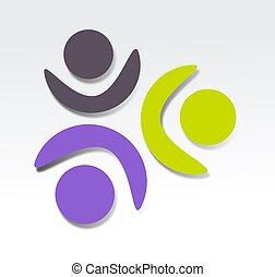 cooperação, ícone, desenho