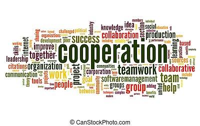 cooperação, conceito, em, palavra, tag, nuvem, branco