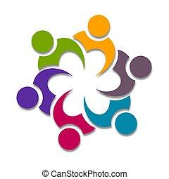 cooperação, icone, desenho