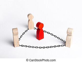 cooperação, neutralize, custódia, apanhar, collaboration., público, criminal, corrupção, pessoas, prisão, luta, mantenha, homem, chains., offender., control., vermelho, cercado