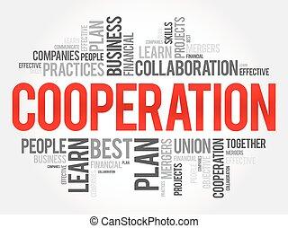 cooperação, palavra, nuvem, colagem, conceito negócio, fundo