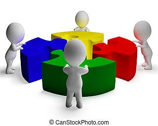 cooperação, quebra-cabeça, resolvido, unidade, caráteres,...