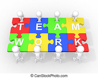 cooperação, trabalho equipe, conceito, liderança