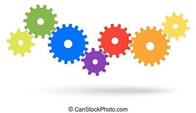 cooperación, engranajes, simbolismo