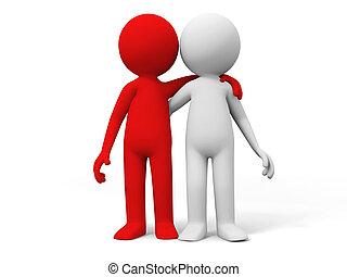 cooperación, equipo, socio